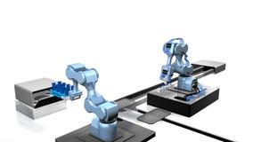 3D model automatyzujący laboratorium z dwa machinalnymi rękami bierze próbki od tacy próbne tubki z białym tłem Zdjęcia Stock