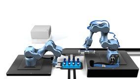 3D model automatyzujący laboratorium z dwa machinalnymi rękami bierze próbki od tacy próbne tubki z białym tłem Obrazy Royalty Free