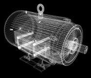 3d-model av en elektrisk motor Arkivfoto