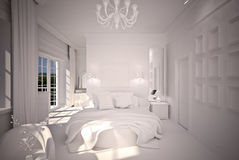 Bedroom  interior design B&W Stock Image