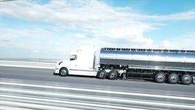 3d model benzyna tankowiec, przyczepa, ci??ar?wka na autostradzie Bardzo szybki je?d?enie Realistyczna 4K animacja Nafciany poj?c ilustracji