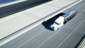 3d model benzyna tankowiec, przyczepa, ci??ar?wka na autostradzie Bardzo szybki je?d?enie Realistyczna 4K animacja Nafciany poj?c ilustracja wektor
