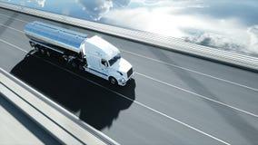 3d model benzyna tankowiec, przyczepa, ci??ar?wka na autostradzie Bardzo szybki je?d?enie Realistyczna 4K animacja Nafciany poj?c royalty ilustracja