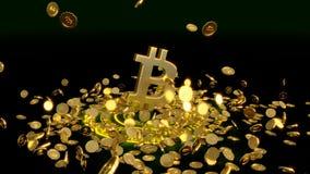 3D model bitcoin loga złociste monety które rozpraszają w różnych kierunkach świadczenia 3 d Fotografia Royalty Free