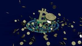 3D model bitcoin loga złociste monety które rozpraszają w różnych kierunkach świadczenia 3 d Zdjęcie Stock