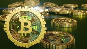 3D model bitcoin loga złociste monety które rozpraszają w różnych kierunkach świadczenia 3 d Obrazy Stock