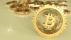 3D model bitcoin loga złociste monety które rozpraszają w różnych kierunkach świadczenia 3 d Obrazy Royalty Free