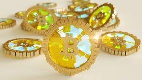 3D model bitcoin loga złociste monety które rozpraszają w różnych kierunkach świadczenia 3 d Obraz Stock