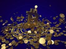 3D model bitcoin loga złociste monety które rozpraszają w różnych kierunkach Obraz Stock