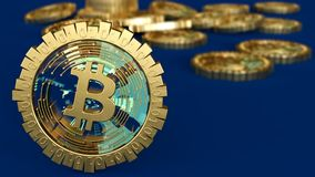 3D model of the bitcoin logo gold coins that scatter in different directions. 3D rendering. Royalty Free Stock Photos