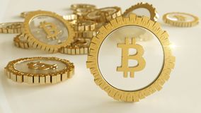 3D model of the bitcoin logo gold coins that scatter in different directions. 3D rendering. Stock Photos
