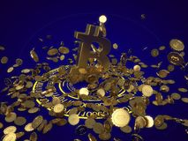 3D model of the bitcoin logo gold coins that scatter in different directions. 3D rendering Stock Image