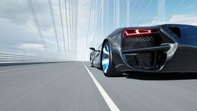 3d model of black futuristic car on the bridge. Very fast driving. Concept of future. 3d rendering. 3d model of black futuristic car on the bridge. Very fast royalty free illustration