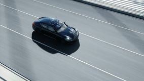 3d model of black sport car on the bridge  Very fast driving  realistic 4K  animation  Performance, drive