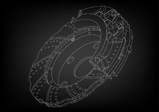 3d model of the brake disc. On a black background. Drawing Stock Image