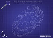 3d model of the brake disc. On a blue background. Drawing Stock Photos