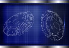3d model of the brake disc. On a blue background. Drawing Stock Images