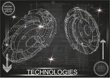 3d model of the brake disc. On a black background. Drawing Stock Photos