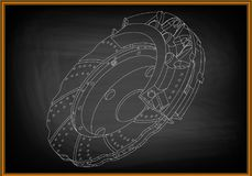 3d model of the brake disc. On a black background. Drawing Royalty Free Stock Photos