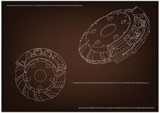 3d model of the brake disc. On a brown background. Drawing Stock Images
