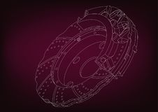 3d model of the brake disc. On a burgundy background. Drawing Stock Images