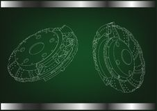 3d model of the brake disc. On a green background. Drawing Stock Photos
