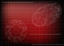 3d model of the brake disc. On a red background. Drawing Royalty Free Stock Photos
