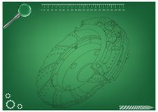 3d model of the brake disc. On a green background. Drawing Stock Photo