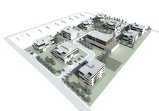 3d model of the building group or complex. 3D visualisation. Group of the modern multistory living houses with terrain, courtyards, parking slots stock photos