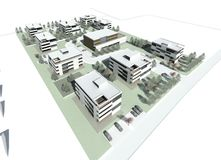 3d model of the building group. 3D visualisation. Group of the modern multistory living houses with terrain, courtyards, parkings slots stock photography