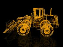 3d model bulldozer. Model bulldozer. 3D render Illustration Royalty Free Stock Image
