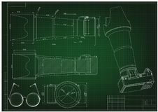3d model of the camera on a green. Drawing. 3d model of the camera on a green background. Drawing Stock Photo