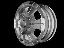 3d model cast wheels. Isolated on a black background Stock Photography