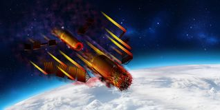 3D model of China`s Tiangong-1 space station disintegrating upon entering the Earth`s atmosphere. 3D rendering royalty free illustration