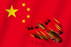 3D model of  China`s Tiangong-1 space station disintegrating upon entering the Earth`s atmosphere with the flag of China. In the background. 3D rendering Royalty Free Stock Photos