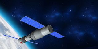 3D model of  China`s Tiangong-1 space station orbiting the planet Earth. 3D rendering Royalty Free Stock Photo