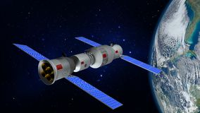 3D model of the Chinese space station Tiangong orbiting the planet Earth Royalty Free Stock Photo