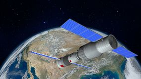 3D model of the Chinese space station Tiangong orbiting the planet Earth. 3D rendering Royalty Free Stock Photos