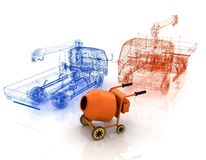 3d model concrete mixer and truck Royalty Free Stock Photography