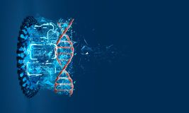 3D model of DNA. A physical model of DNA on the holographic projector. 3D model of DNA. 3D render illustration. Analysis of genetic chains Digital Universe Stock Photography