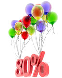3d model eighty percent discount. Discount of eighty percent of the flies on the balloons. 3d model Stock Image