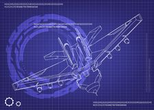 3d model of a fighter. On a blue background. Drawing Royalty Free Stock Photography