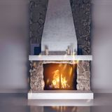 3d model of a fireplace made of stone. Fireside, chalet style in the interior. stock illustration