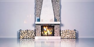 3d model of a fireplace made of stone and laying firewood. Fireside, chalet style in the interior. rendering royalty free illustration