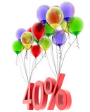 3d model forty percent discount. Discount of forty percent of the flies on the balloons. 3d model Stock Image