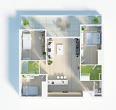 Floor plan of a house top view 3D illustration. Open concept living apartment layout. 3d model of furnished home apartment . Open concept living apartment layout vector illustration