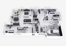 Floor plan of a house top view 3D illustration. Open concept living apartment layout. 3d model of furnished home apartment . Open concept living apartment layout stock illustration