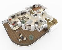 3d model of furnished home apartment Stock Images