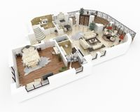 3d model of furnished home apartment Royalty Free Stock Image