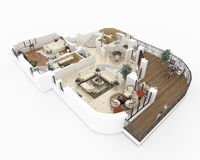 3d model of furnished home apartment Stock Photography